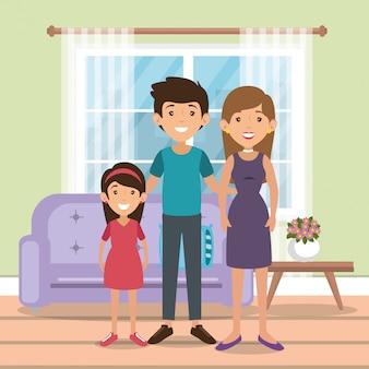 Familieneltern in der wohnzimmerszene