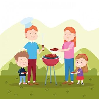 Familieneltern und kinder cartoons