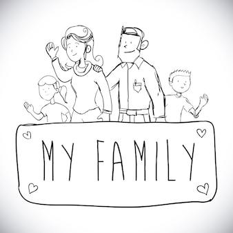 Familienentwurf über weißer hintergrundvektorillustration
