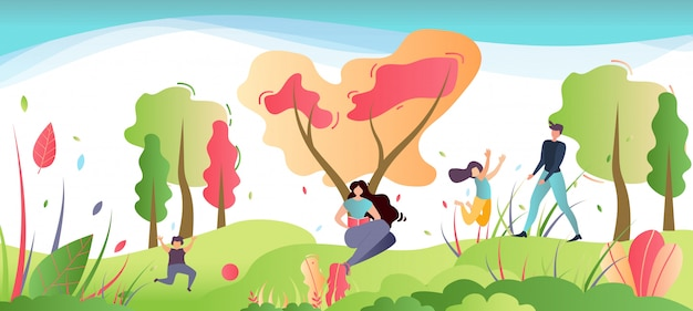 Familienerholung auf natur-karikatur-illustration