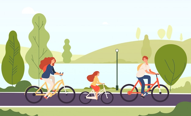 Familienfahrräder. glückliche eltern-tochter, die fahrräder zusammen im aktiven lifestyle-sportfamilienkonzept des freiluftparks radelt