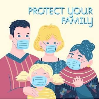 Familienfamilie mit medizinischer maske