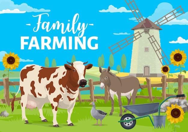 Familienfarming. nutztiere auf ländlicher landschaft mit windmühle, feldfrüchten und sonnenblumenfeld.