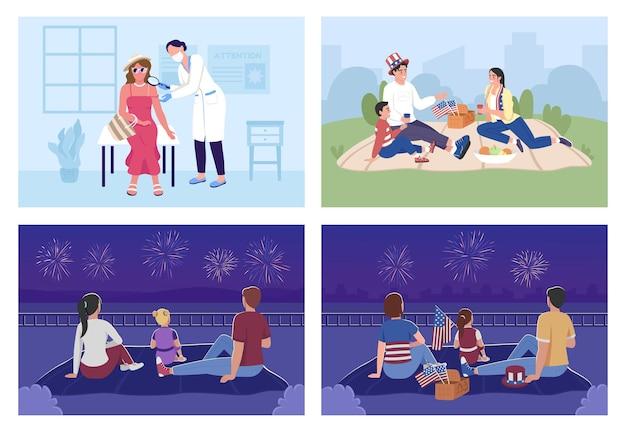 Familienfeier im freien und sonnenschutz flacher farbvektor-illustrationssatz