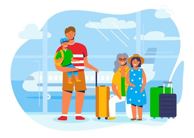 Familienfiguren im urlaub oder auf reisen. vater, mutter, sohn und tochter sitzen mit gepäck am flughafenterminal und warten darauf, in das flugzeug einzusteigen.