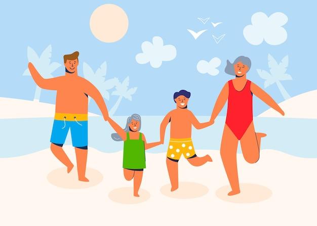 Familienfiguren in den sommerferien am strand an einem sandigen ufer und ruhe am meer. eltern und kinder cartoon menschen.