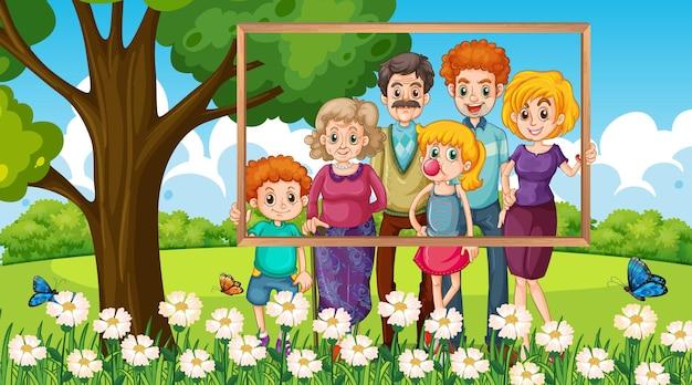 Familienfoto im urlaubshintergrund