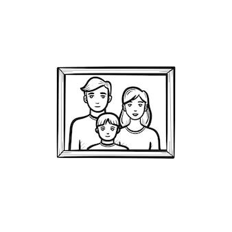Familienfotorahmen handgezeichnete umriss-doodle-symbol