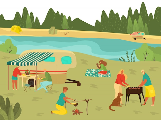Familiengrillpicknick in den sommerferien, grill mit großeltern, vater, mutter und kindern in der natur, die flache illustration reisen.