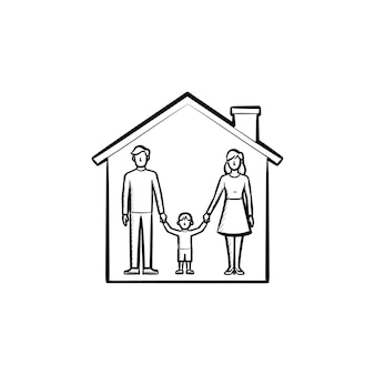 Familienhaus hand gezeichnete umriss-doodle-symbol