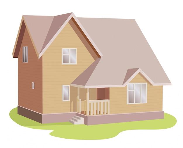 Familienhausvektorgebäude in der perspektivenansicht.