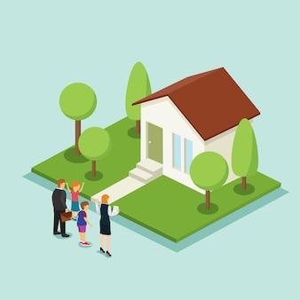 Familienheiminvestition mit isometrischem