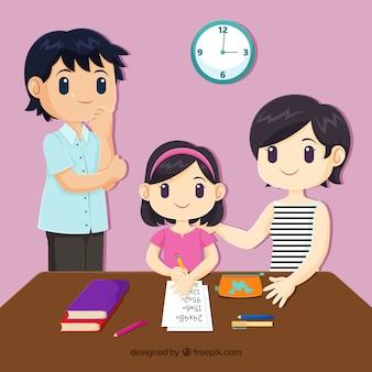 Familienhintergrund, der verschiedene tätigkeiten tut