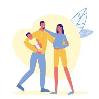 Familienidylle, glück-flache vektor-illustration