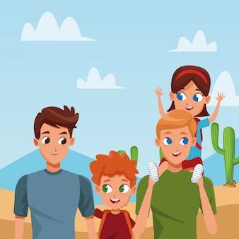 Familienjunge eltern mit kinderkarikatur