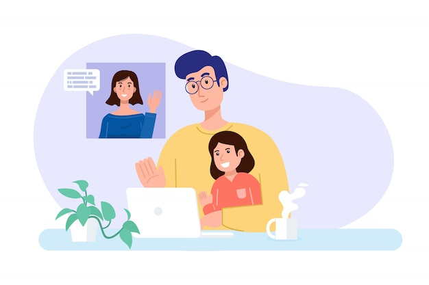 Familienkonferenz. vater und tochter telefonieren zu hause mit der mutter