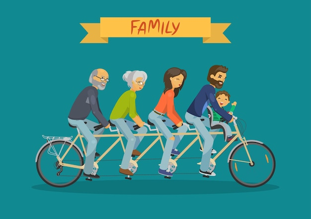 Familienkonzept mutter vater großmutter großvater und kind reiten tandem