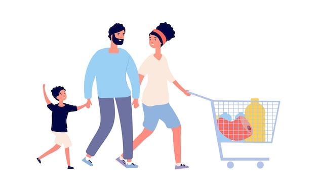 Familienlebensmittel einkaufen. mann-frauen-junge mit wagen. flache lebensmittelgeschäftskunden, isolierte menschen mit frischen produkten