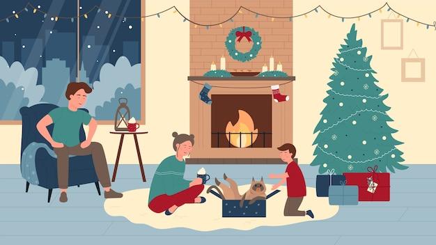 Familienleute zu hause in der weihnachtswinterferienillustration.