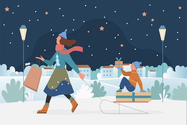 Familienmenschen rodeln, weihnachten outdoor-aktivität illustration.