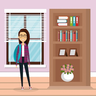 Familienmitglied im wohnzimmer