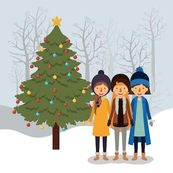 Familienmitglieder, die weihnachten im snowscape feiern