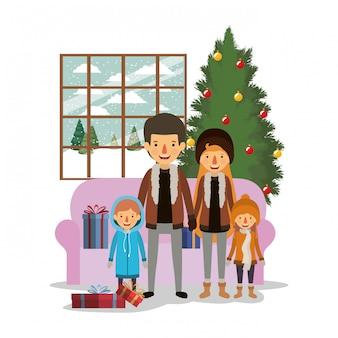 Familienmitglieder, die weihnachten im wohnzimmer feiern