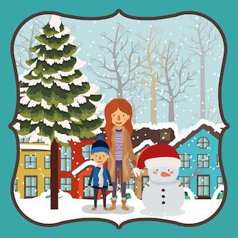 Familienmitglieder, die weihnachten in der nachbarschaft feiern