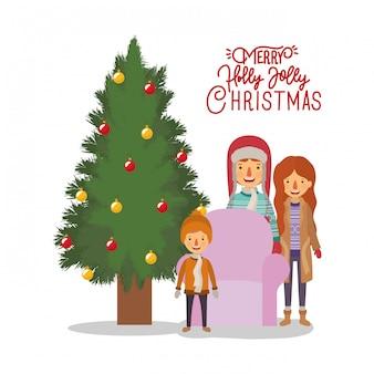 Familienmitglieder, die weihnachten mit kiefer feiern