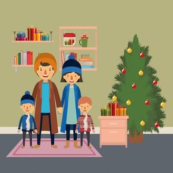 Familienmitglieder, die weihnachten mit kiefer im haus feiern