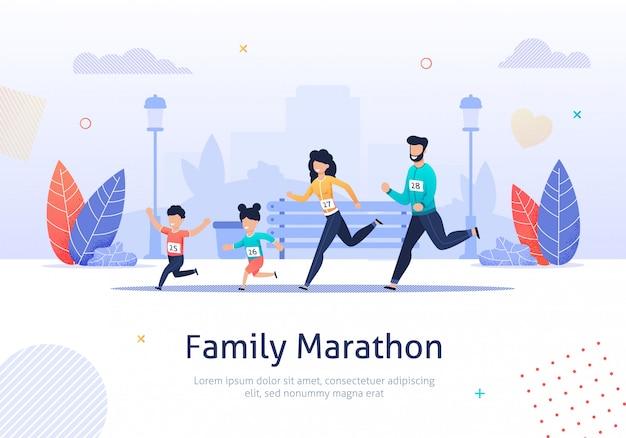 Familienmitglieder, die zusammen marathon-fahne laufen lassen.