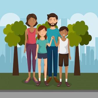 Familienmitglieder im freien zeichen