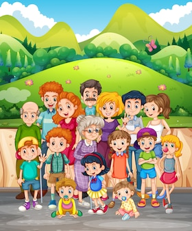 Familienmitglieder im park