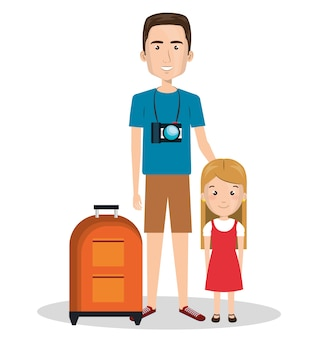 Familienmitglieder in den ferien