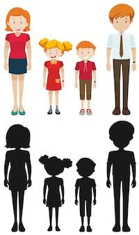 Familienmitglieder in silhouette und farbig