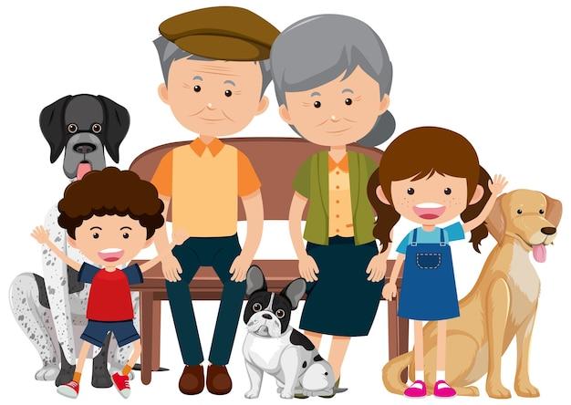 Familienmitglieder mit ihrem haustierhund lokalisiert auf weiß
