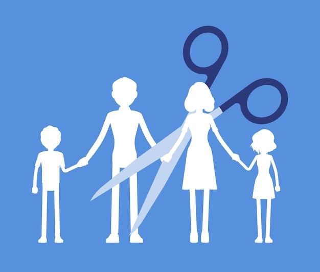 Familienmitglieder papiergirlande kettenschnitt. scherenteilung, trennung von eltern und kindern, auflösung einer ehe, umgangsrecht der eltern nach scheidung oder trennung, spaltung. vektor-illustration