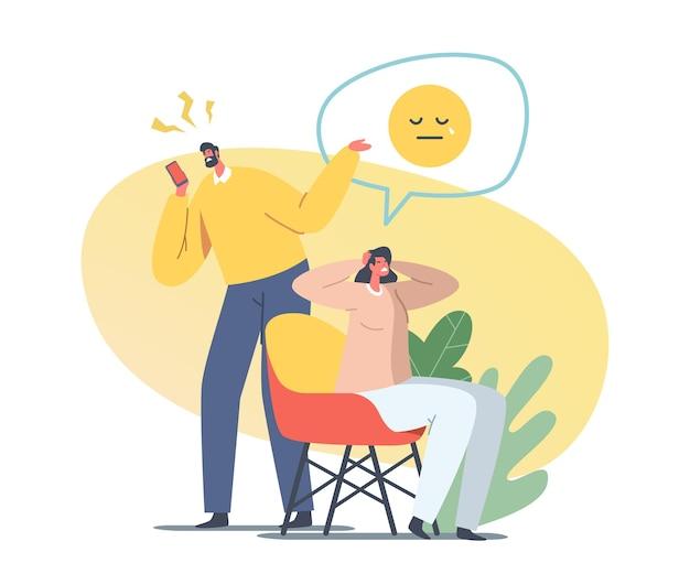 Familienpaar männliche und weibliche charaktere in komplizierten beziehungen brauchen psychologische hilfe, um eine scheidung zu vermeiden