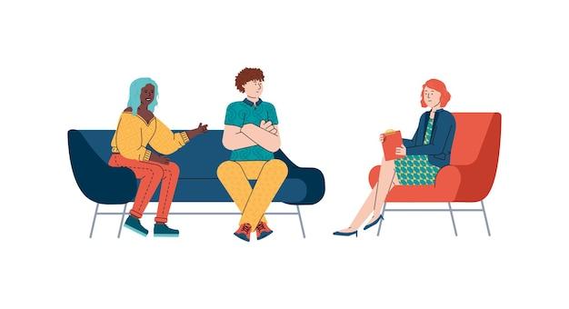 Familienpaar psychologe sitzung flache cartoon-vektor-illustration isoliert