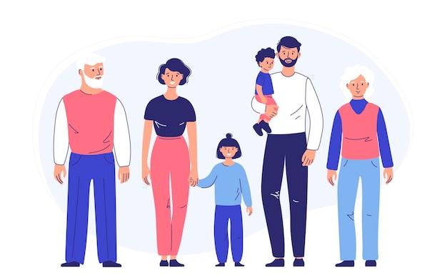 Familienpaar vater und mutter mit tochter und sohn gehen zusammen mit den großeltern