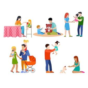 Familienpflege babysitting junge leute eltern elternpaar web infografik konzept icon set.