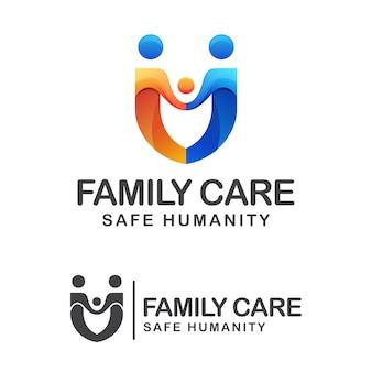 Familienpflege und sicheres menschlichkeitsgradientenlogo, volksfamilie mit schildlogokonzept