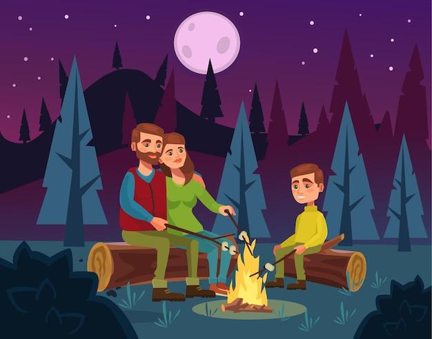 Familienpicknick durch feuer bei nachtillustration