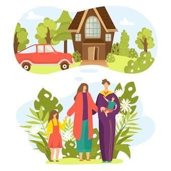Familienpläne gesetzt, illustration. mutter vater kinder zusammen konzept. haus, auto für glücklichen eltern- und jungenmädchenkindcharakter. menschen, die lebensstil mit haus, fahrzeug planen.