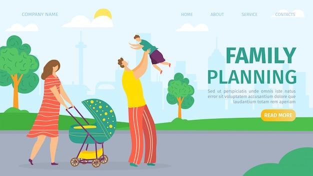 Familienplanungs- und entwicklungslandungswebseite, illustration. mutter, vater, baby im kinderwagen und kinder. mann und frau gesundheit, ehe und kinder planungsdienste für paare.