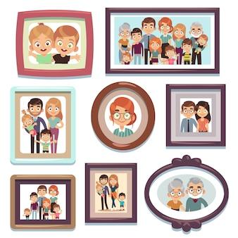 Familienporträtfotos. bilder menschen fotorahmen glückliche charaktere verwandte dynastie eltern kinder beziehung, flache vorlage