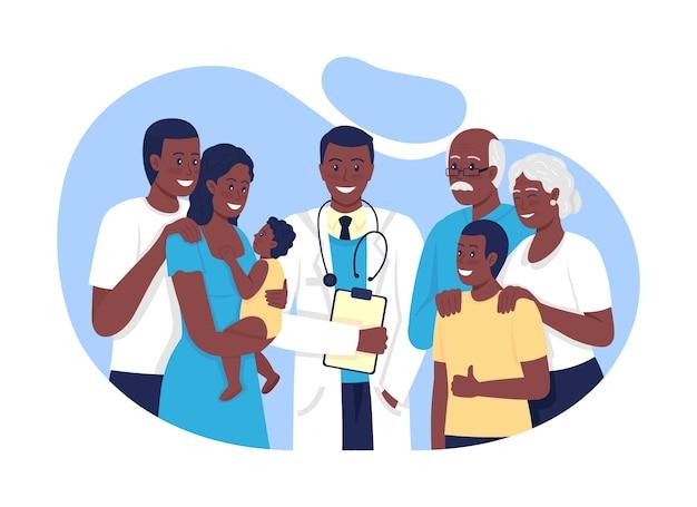 Familienpraxis 2d-vektor isolierte illustration. pflege älterer menschen, jugendlicher, erwachsene flache charaktere auf cartoon-hintergrund. behandlung von häufigen erkrankungen bunte szene