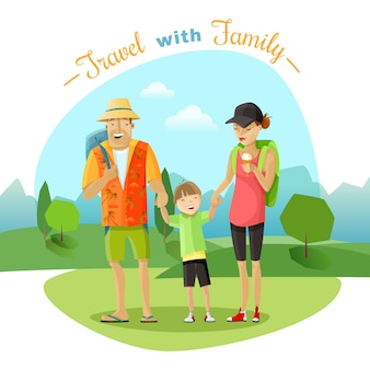 Familienreise-illustration