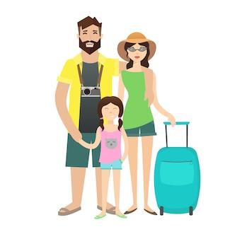 Familienreise mit kindern isoliert auf weiß