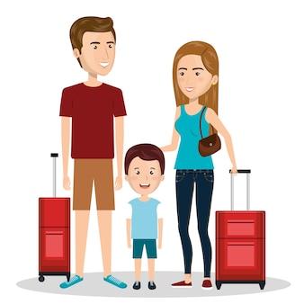 Familienreise mit koffervektor-illustrationsdesign